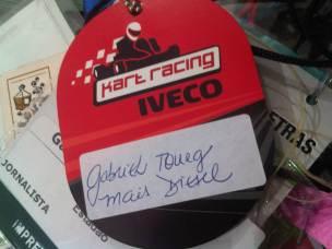 Participação em corrida de kart para jornalistas, em evento da Iveco (s/d)