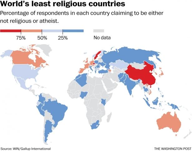 países menos religiosos
