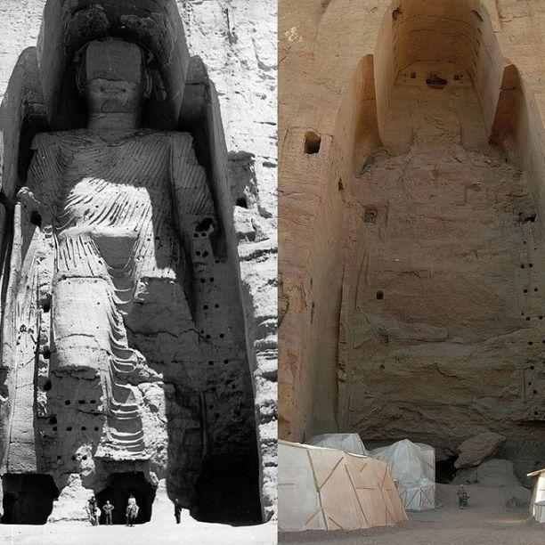 Budha em 1963 e em 2008, após ser destruído pelo Taleban (Afeganistão)