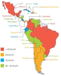 Velocidades máxima na América Latina (fonte: Embarq Brasil)