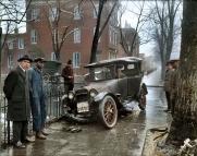Um acidente de trânsito em Washington DC, em 1921 (colorida digitalmente)
