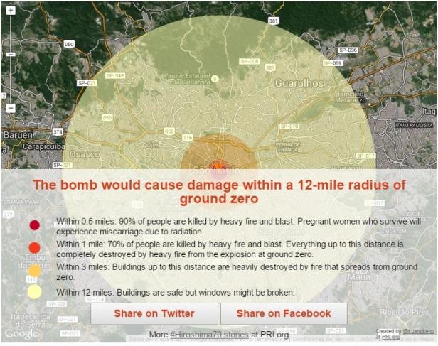 bomba de hiroshima sobre sao paulo