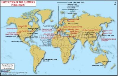 O mapa mostra os jogos de verão, em preto, e de inverno, em vermelho (fonte: Mapsofworld)