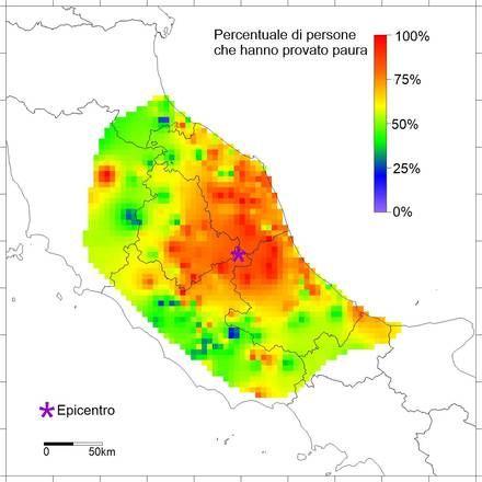 Mapa mostra a sensação dos italianoa com terremoto de magnitude 6,2 (foto: INGV)