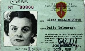 Credencial de imprensa de Clare Hollingworth
