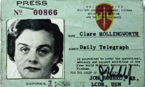 Credencial de imprensa de Clare Hollingworth
